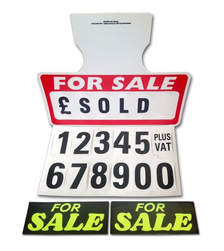 1 Red For Sale Sign Board 2 Stickers Car Price Pricing