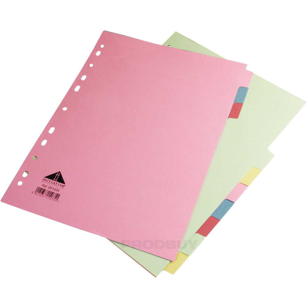 20 A4 Ring Binder File Index Dividers 10 Part Multi