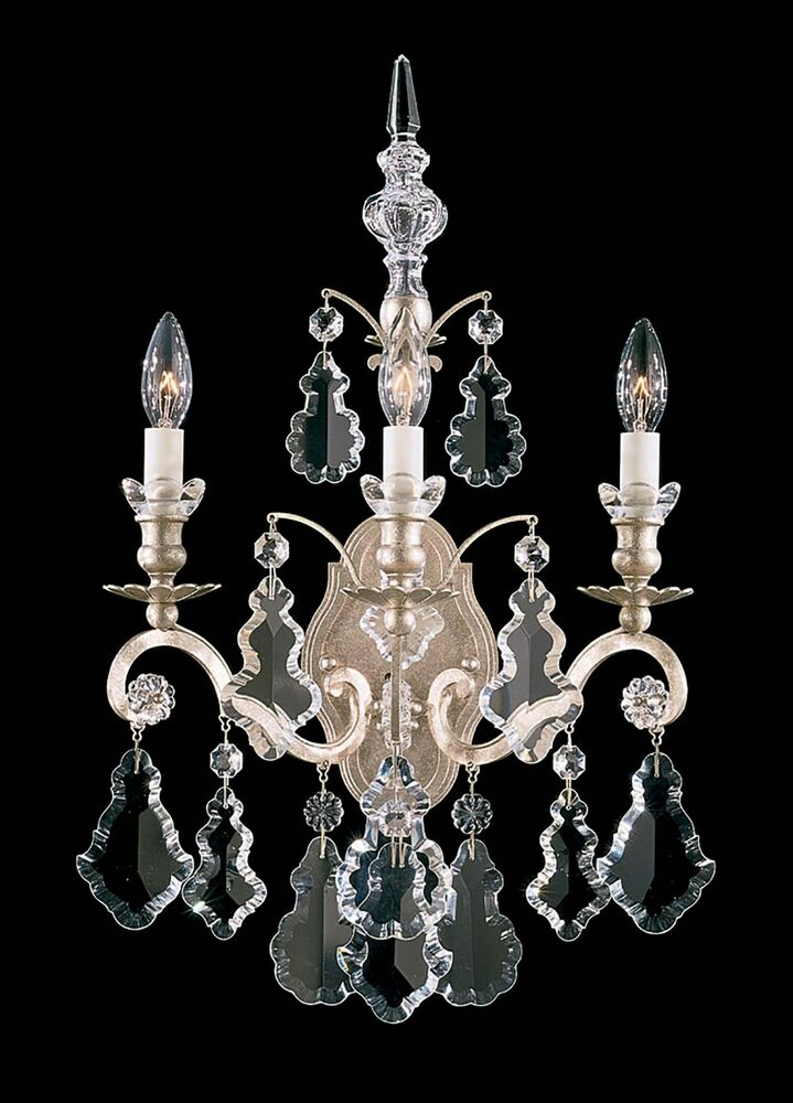 Antique BRONZE 3-Light Wall Sconce Lamp Crystal Candelabra Chandelier Vintage eBay