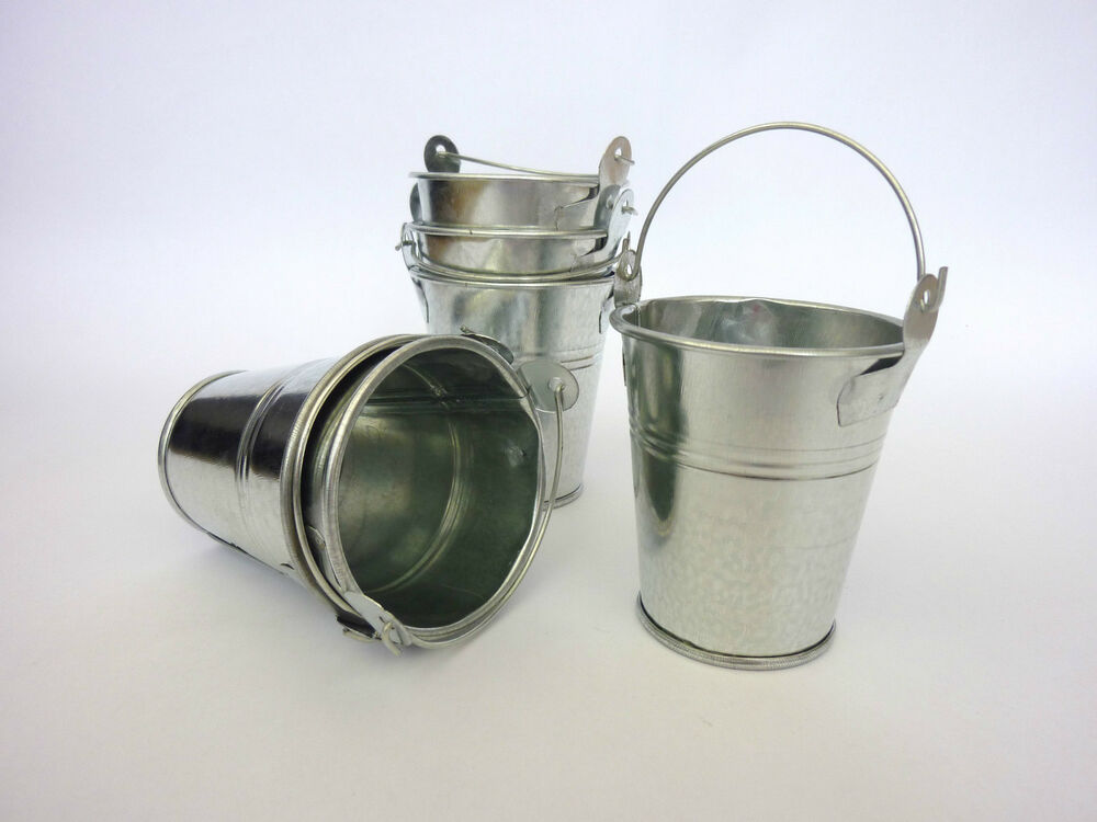 set of 3 6 or 12 small mini metal buckets party wedding