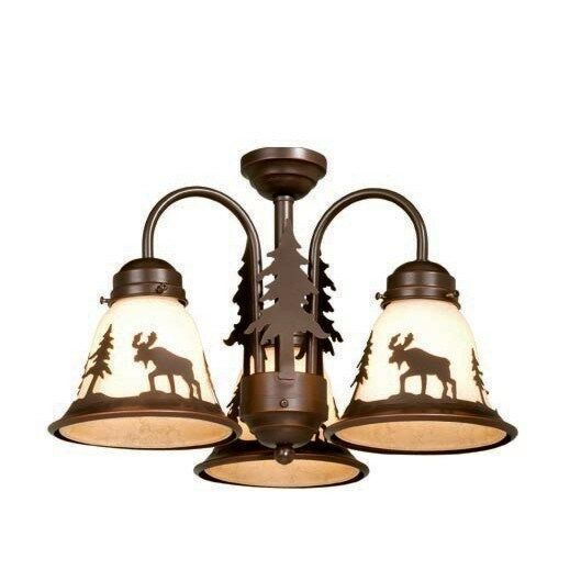 NEW 3 Light Rustic Moose Ceiling Fan Lighting Kit Fixture