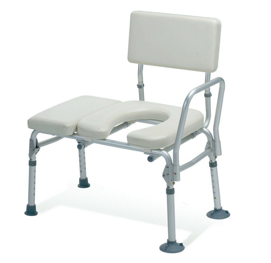 Guardian Padded Transfer Bench w/ Commode Opening 300lb Capacity ...