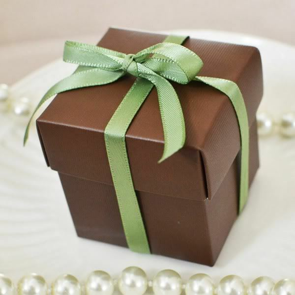 10 Square Chocolate Brown Favor Box Wedding Baby Shower Gift Box Jewelry Box