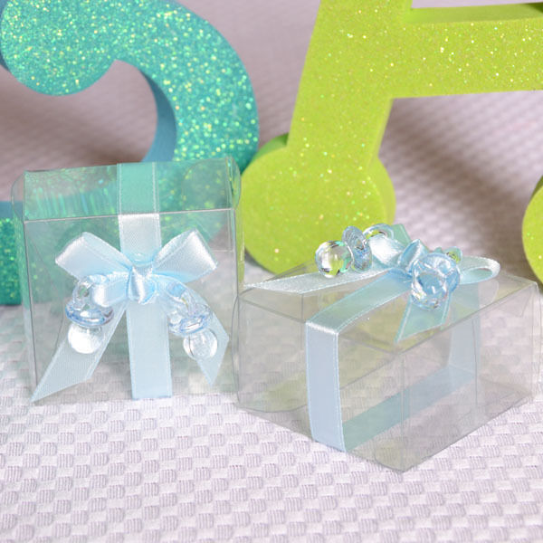 Baby Shower Favors Usa ~ Clear cute baby shower favor boxes with blue ribbon and
