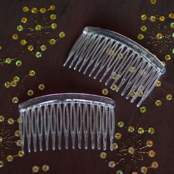 6 clear plastic hair combs simple and ready to decorate for Metal hair combs for crafts
