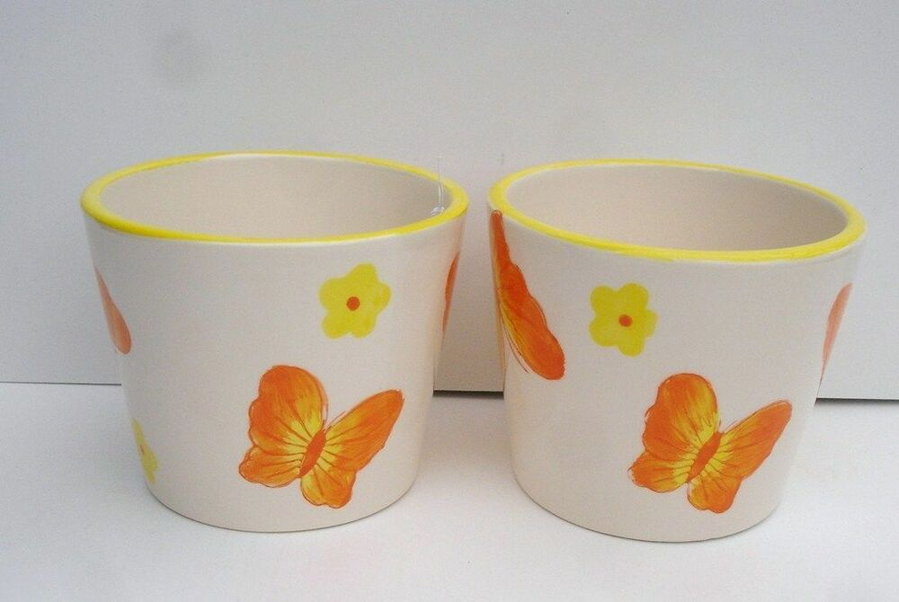 2 New Butterfly Design Ceramic Pots Vases Table Decoration
