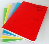 5 x a5 school exercise books 40 pages (lined with margin) assorted cover colours