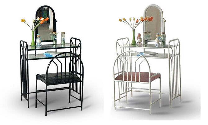 WHITE OR BLACK METAL MAKE UP VANITY GLASS SHELF TABLE SET WITH BENCH MI