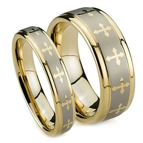 Gold Plated Tungsten Wedding Rings Matching Wedding Bands With Crosses 8MM 6MM