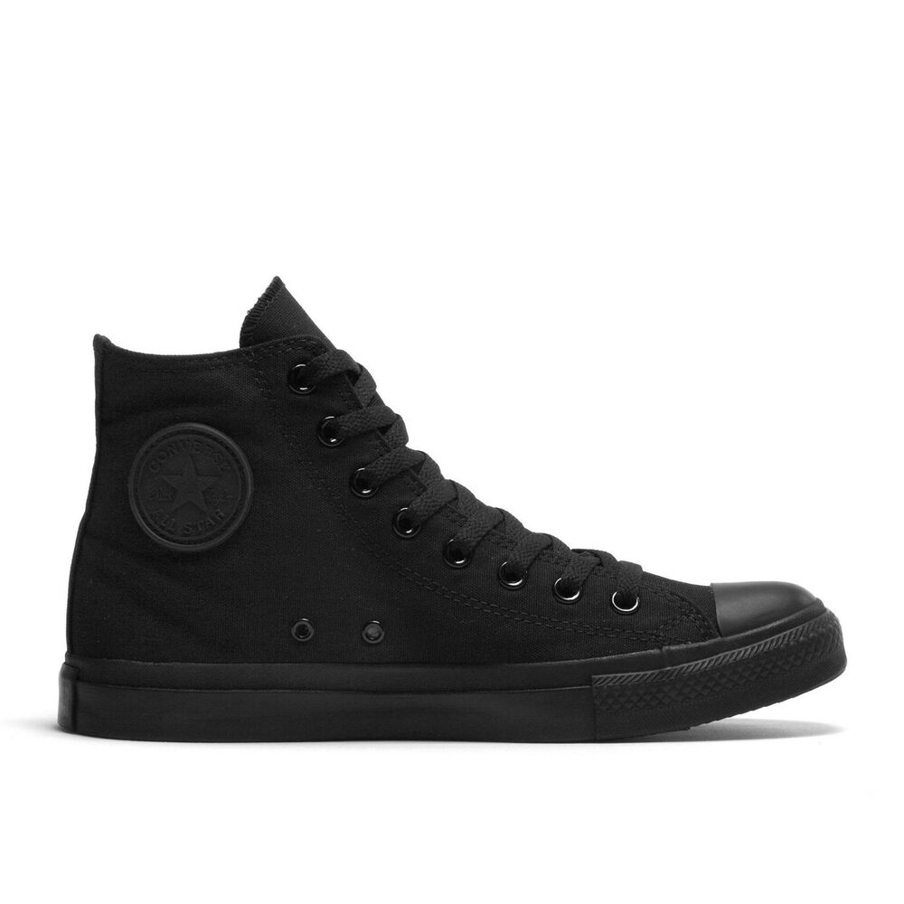 9ea785ccb32a Details about Converse Chuck Taylor All Star Black Mono Hi Top Size 3-14