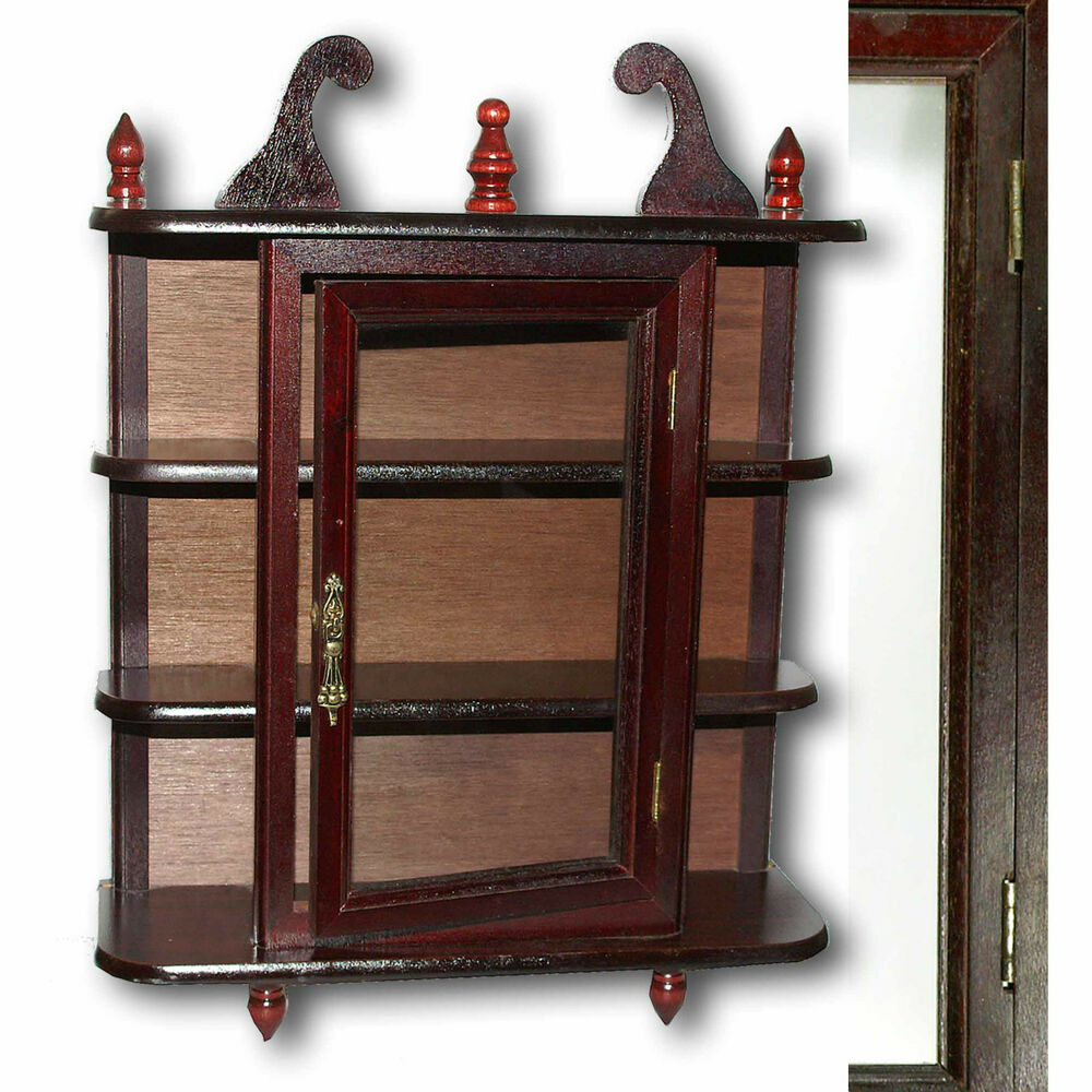 wandschrank vitrine setzkasten mahagonifarben holz mit glasfenster 2 te wahl ebay. Black Bedroom Furniture Sets. Home Design Ideas