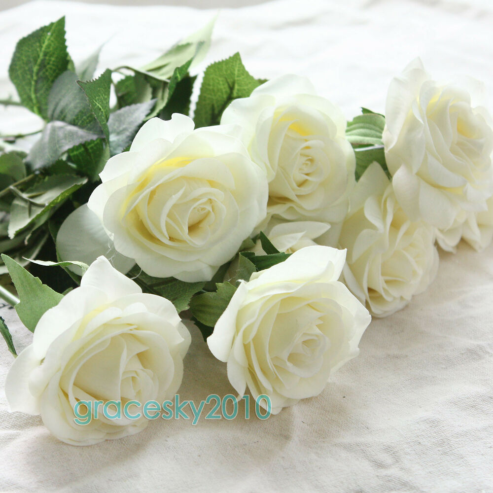 10 50 Head Real Touch Latex Rose Flowers For Wedding