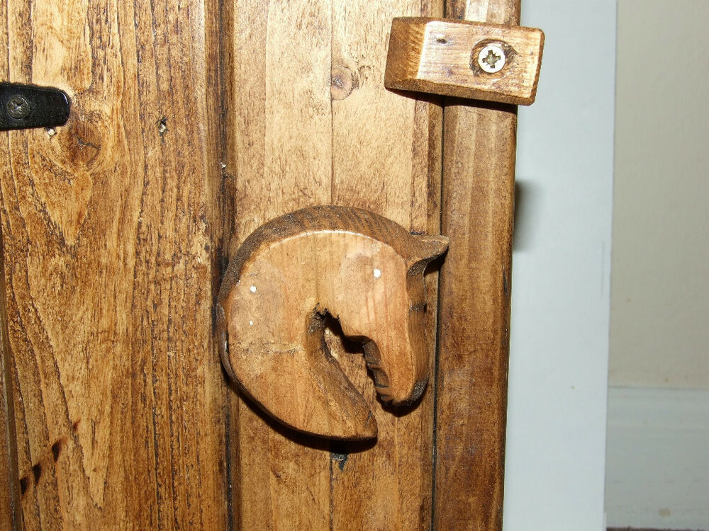 Horse Head Handle Solid Pine Wood Wooden Rustic Antique Style Cupboard Tac Room Ebay