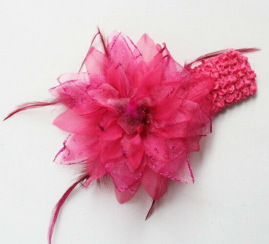 pink feather ribbon hair clip bow crochet pink feather ribbon hair clip bow crochet