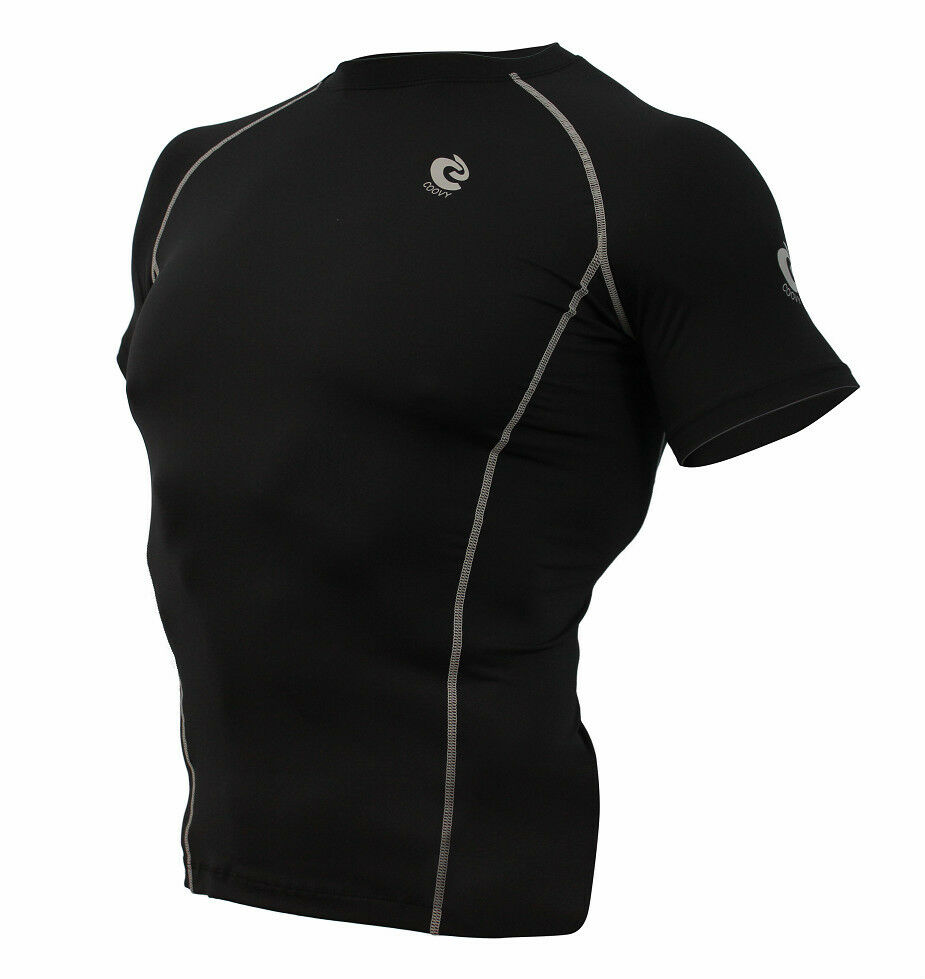 Mens coovy compression wear under base layer top tight for Compression tee shirts for men
