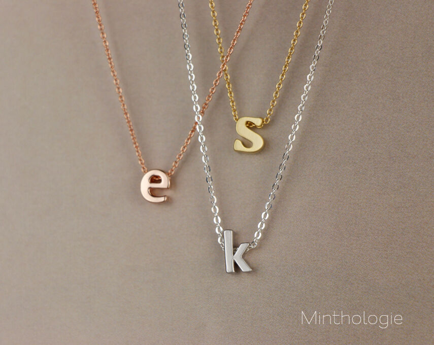 Lowercase initial necklace n001 gold silver rose gold for Lowercase letter necklace