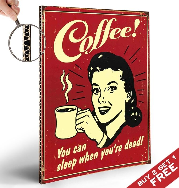 RETRO VINTAGE COFFEE SPOOF POSTER THICK BOARD A4 WALL ART SHOP DISPLAY ...