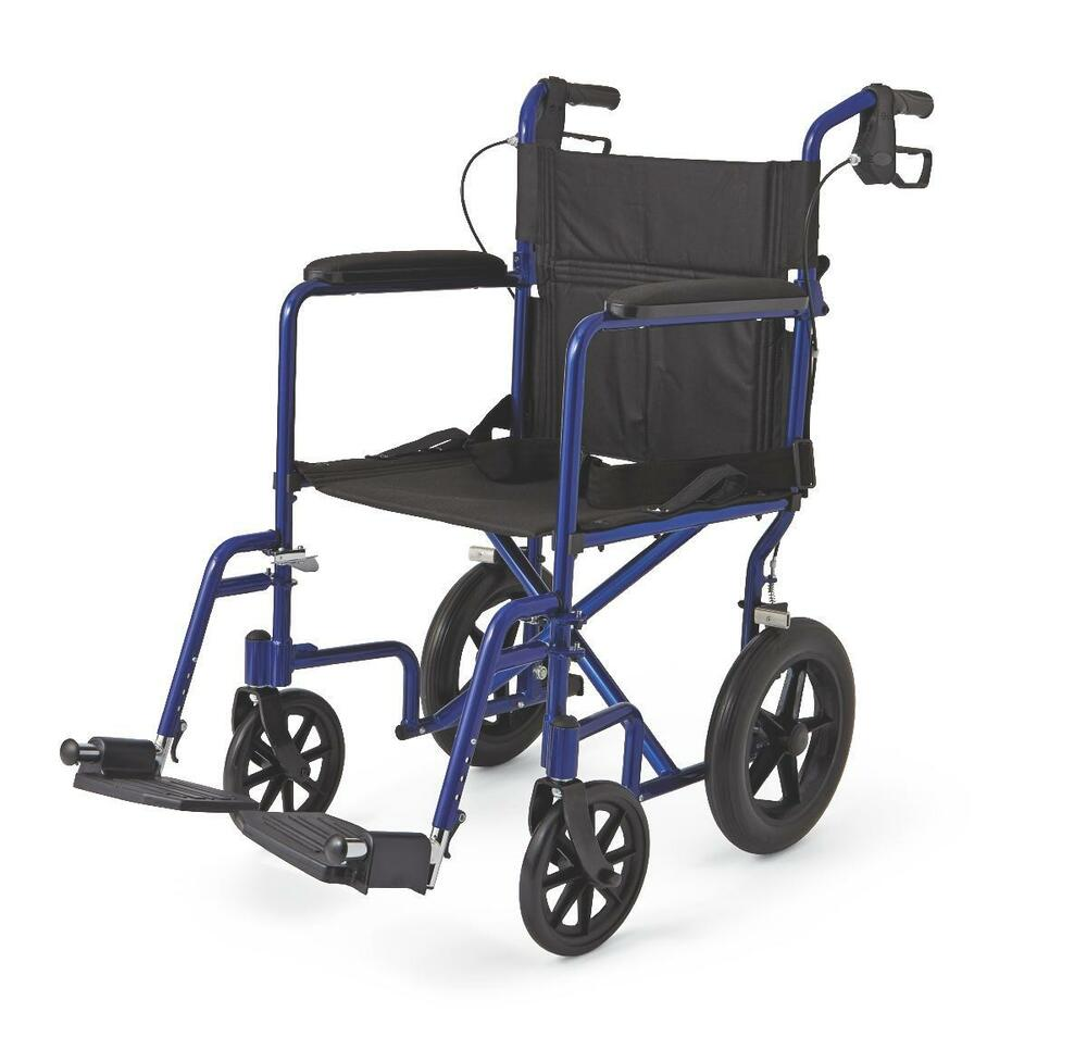 Medline transport chair wheelchair light weight aluminum w for Mobility chair
