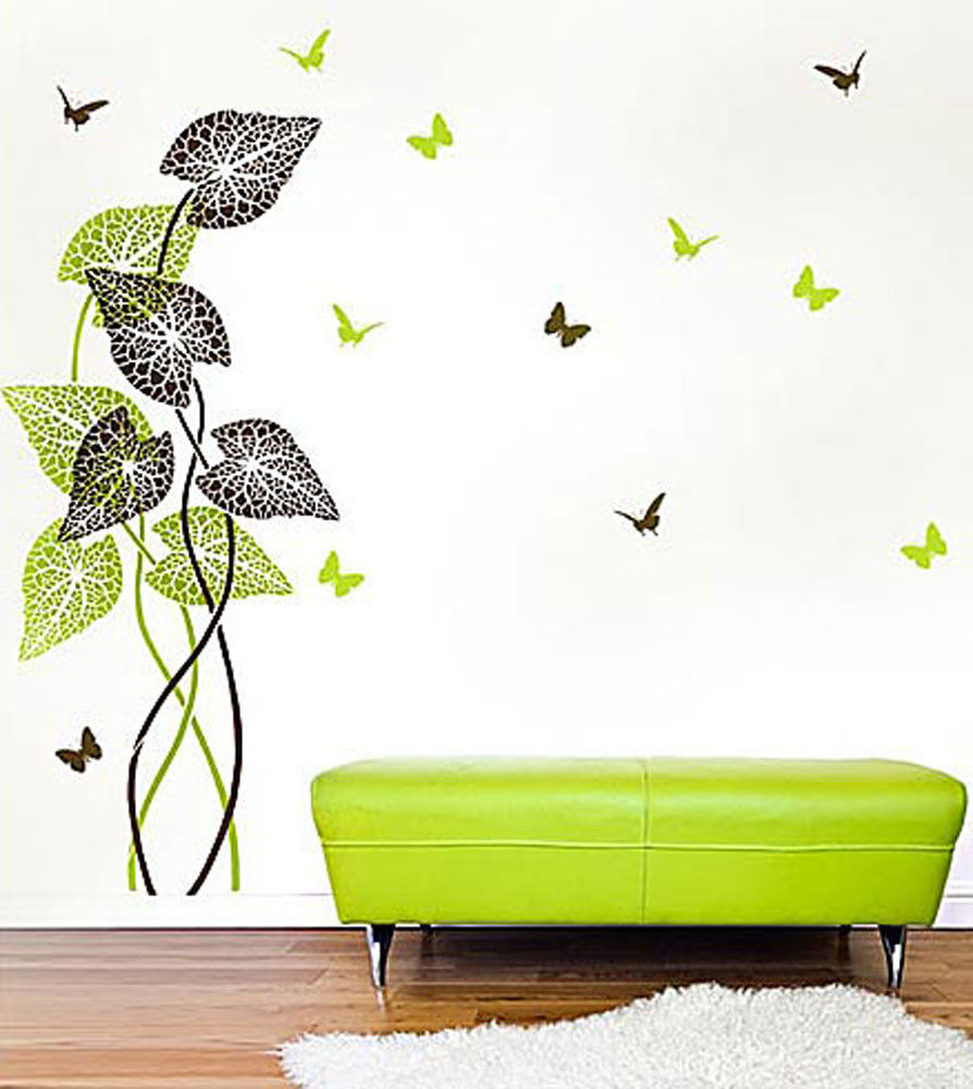 tropical plant wall stencil large plant stencil for diy. Black Bedroom Furniture Sets. Home Design Ideas