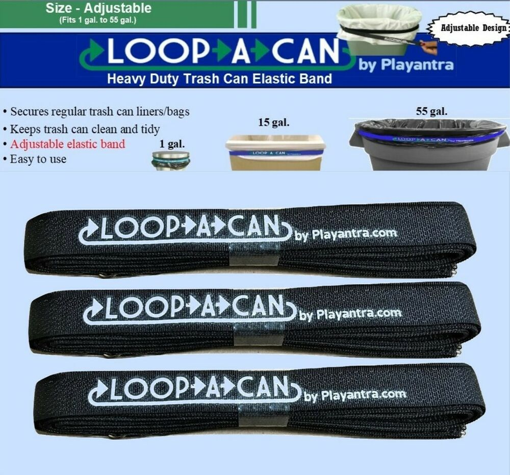 3 Trash Can Rubber Band Patented Adjustable Garbage Can