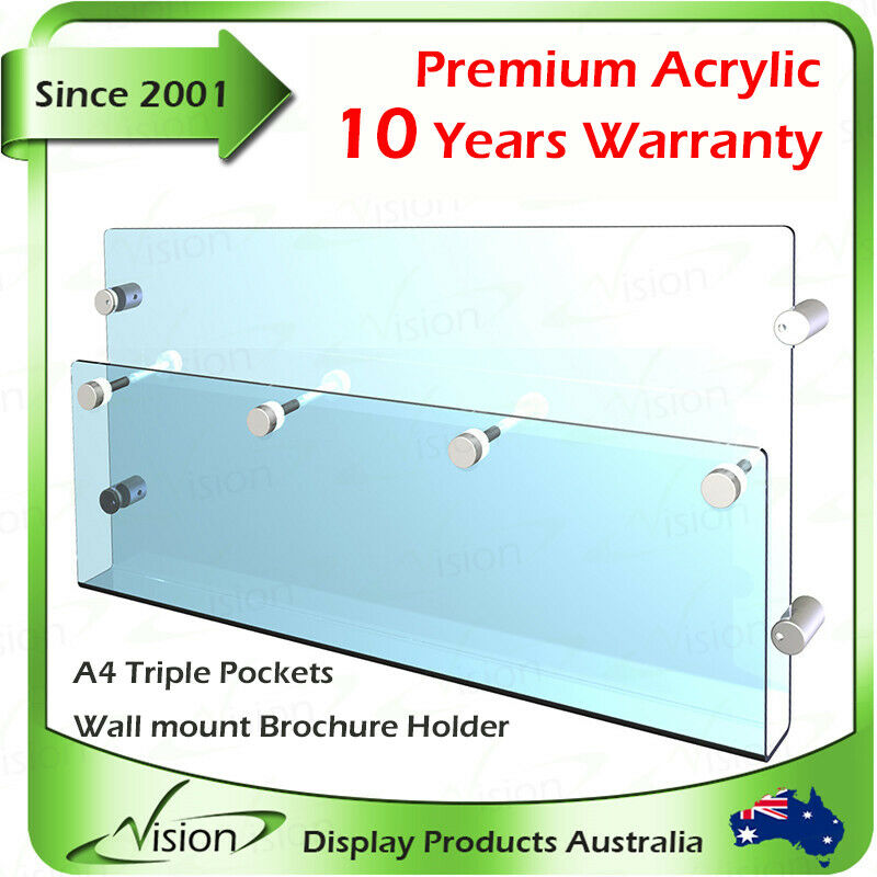 brochure holder a4 triple pockets acrylic poster with wall mounted fittings ebay. Black Bedroom Furniture Sets. Home Design Ideas
