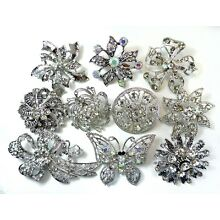 12 Brooches WHOLESALE LOT Clear Bling Rhinestone Silver BROOCH PIN Wedding