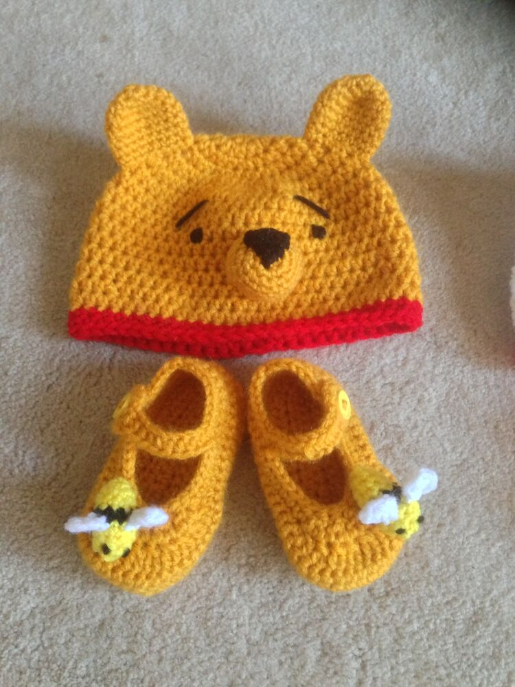 Crochet Pooh Bear Hat Pattern : Hand Crochet Baby Pooh Bear Hat Beanie and Booties - NEW ...