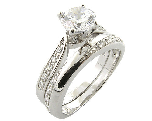 Platinum Look 925 Sterling Silver Simulated Diamond Engagement Wedding Ring Set