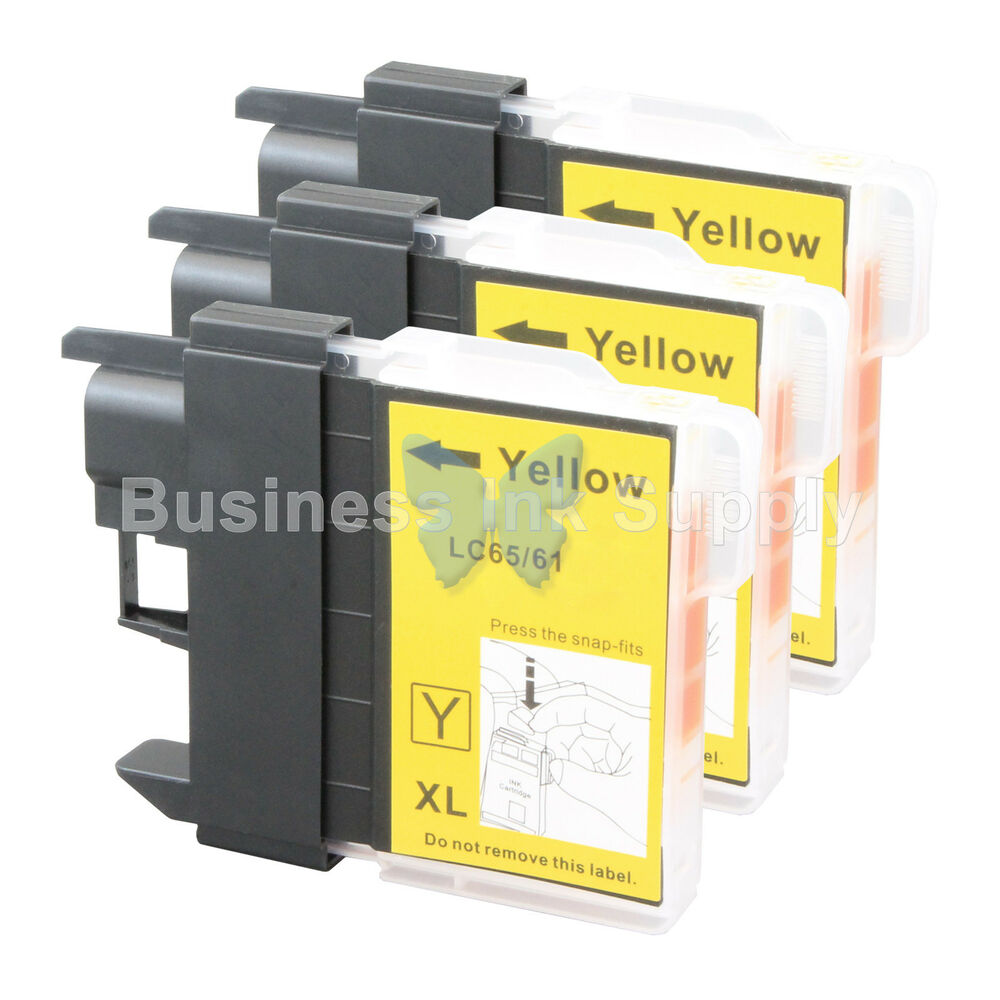 3 YELLOW LC65 Ink Set For Brother MFC 5890CN MFC 5895CW