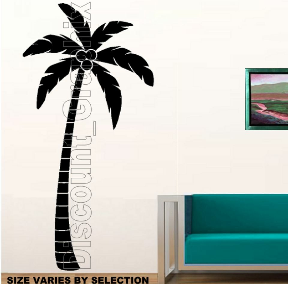 Palm tree tropical wall art decor sticker vinyl decal for Wall art and decor