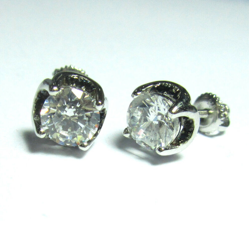sterling silver 925 unisex stud earrings 5mm 8mm cz and