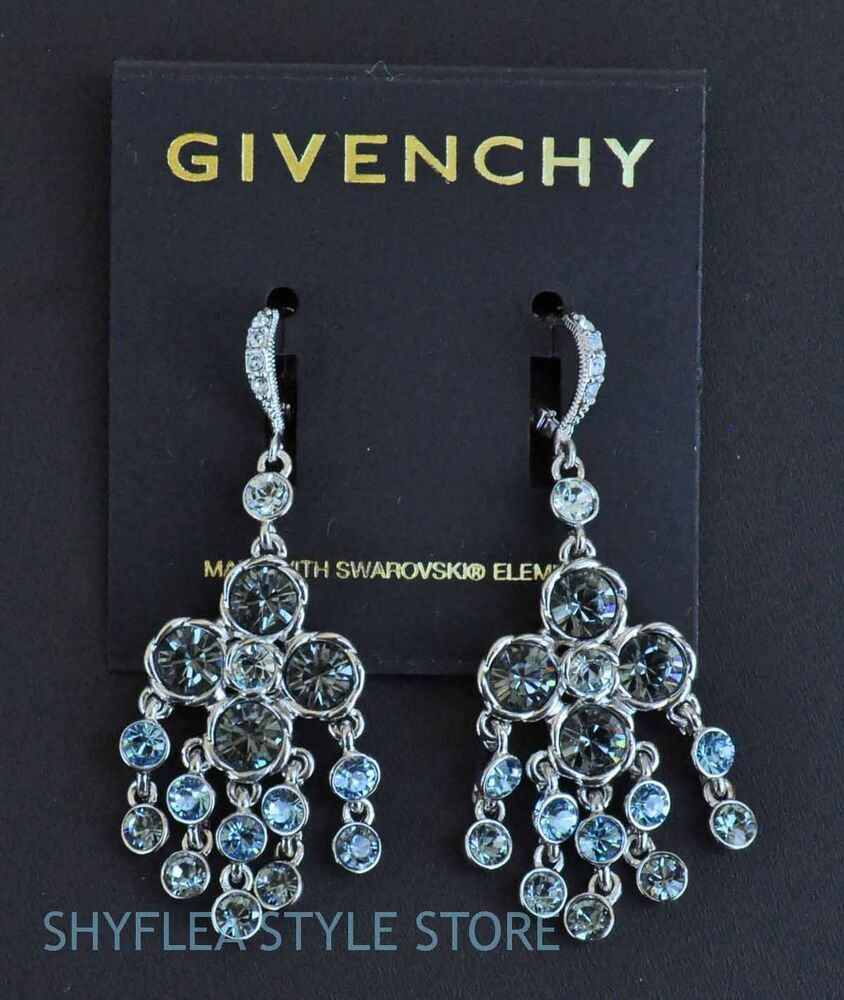 Red Givenchy Chandelier Earrings: Givenchy Chandelier Earrings Clover Made With Light Blue