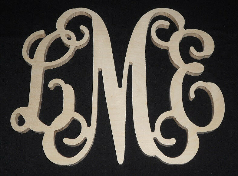 12quot monogram personalized letters unpainted wooden wall for Door monogram letters