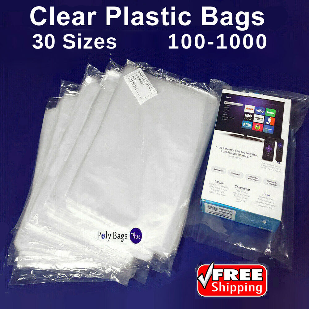 Multiple sizes 1mil clear lay flat poly bags open top for Clear shirt packaging bags