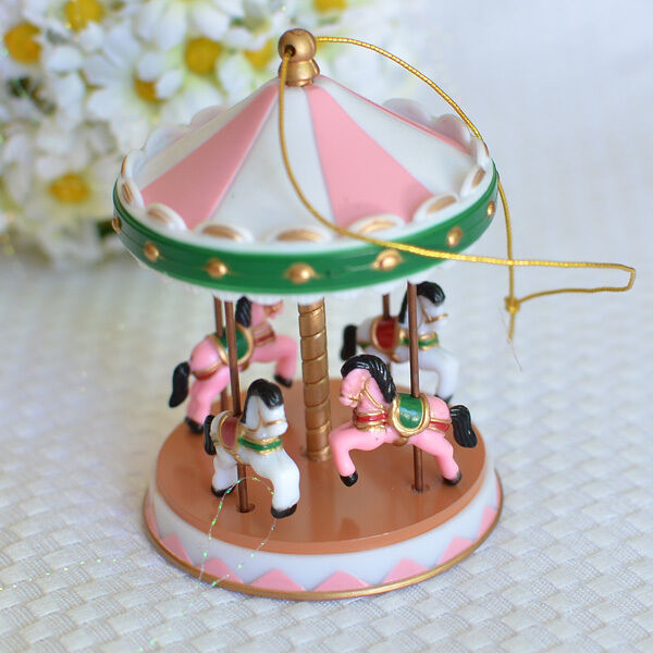 pink circus carousel cake topper for baby showers
