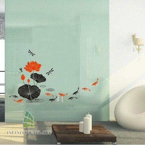 Stylish koi fish lotus flowers wall art stickers flower for Koi fish wall stickers