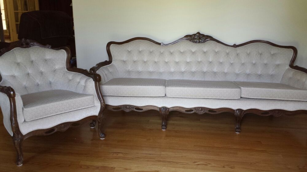 Queen Anne Style Formal Sofa Chair With Cream Colored Crushed Velvet Material Ebay