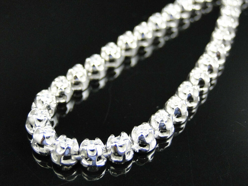 Cuban Link Chain For Sale >> Mens Prong Set 1 Row Genuine Diamond Chain Necklace in 14k White Gold 686907220026 | eBay