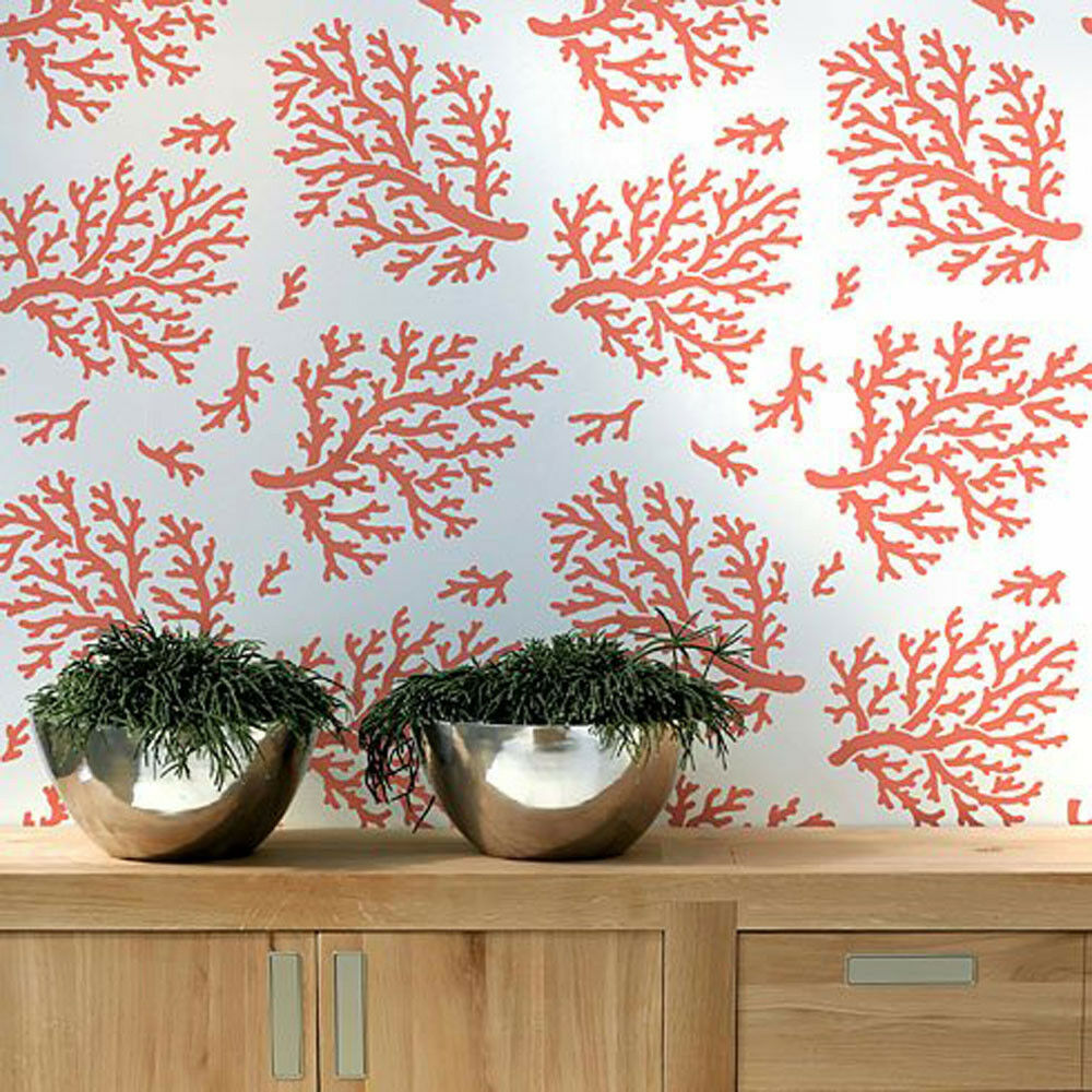 Coral Allover Stencil Pattern Sturdy Reusable Wall