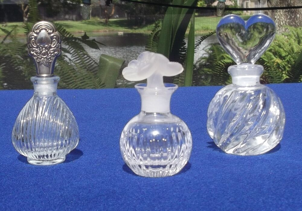 glass stopper bottles ribbed glass perfume bottles with stoppers lot of 3 ebay 1241