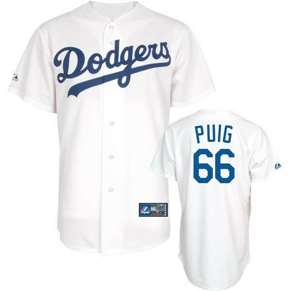 Yasiel Puig Jersey Home White 66 Los Angeles Dodgers