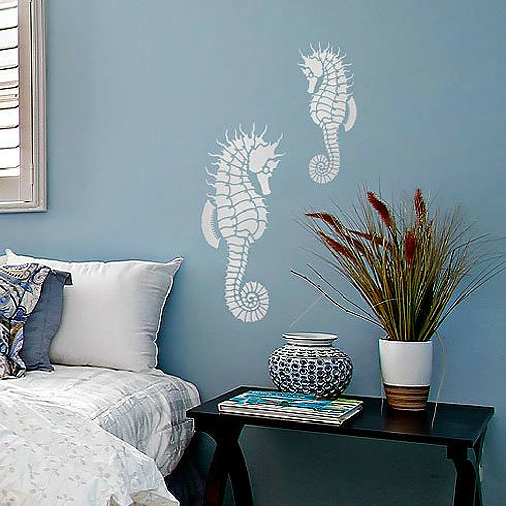 seahorse wall art stencil reusable wall art stencils better than wallpaper ebay. Black Bedroom Furniture Sets. Home Design Ideas