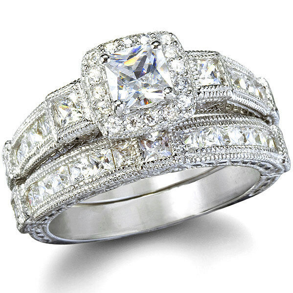 Antique style imitation diamond wedding ring set ebay for Ebay diamond wedding ring sets