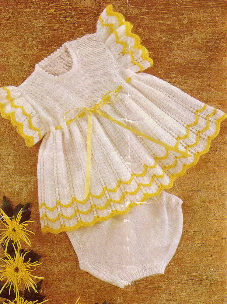 Lovely Baby Girls- Dress and Pants Knitting Pattern- Knit in either DK-QK-4PL...