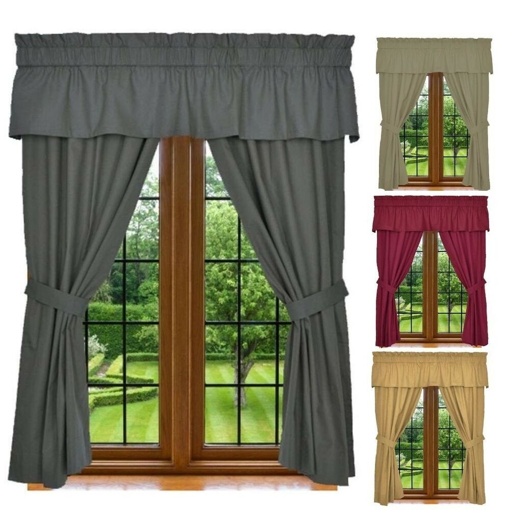 Window Curtain Set 5 Piece Set Includes 2 Panels 1