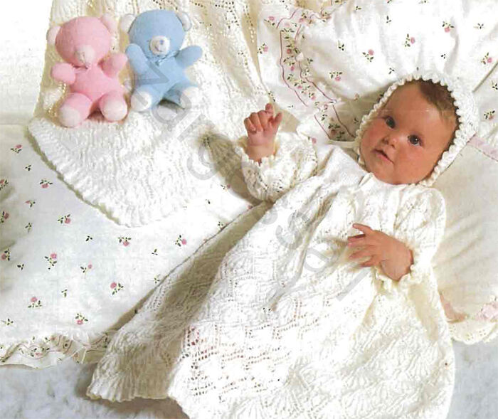Knitting Pattern For Christening Shawl Free : Lovely vintage 3ply Christening dress, bonnet and shawl knitting pattern 1970...