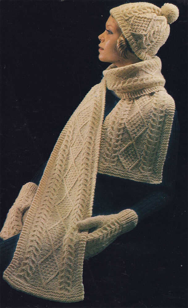 Knitting pattern Ladies- hat, scarf and Mitts- Aran - lovely winter pattern ...