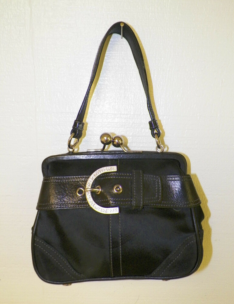 Woman S Coach Black Satin With Leather Trim Belted Evening