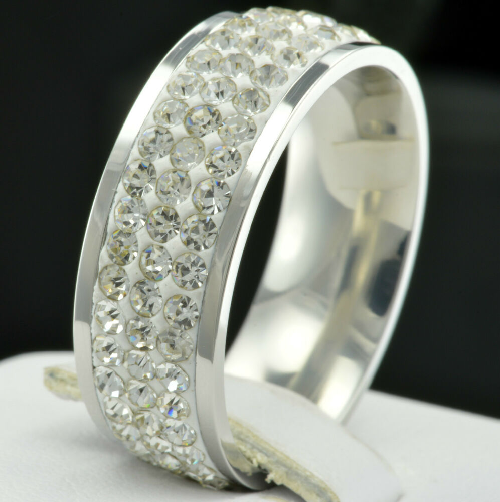 New Eternity Stainless Steel CZ Women Wedding Anniversary