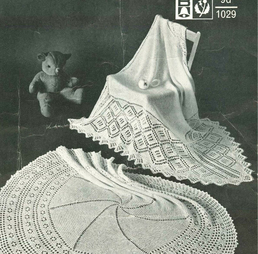 Knitting Pattern For Round Baby Shawl : Vintage Baby Shawls- Round & Square on 1 knitting pattern- lovely old sha...